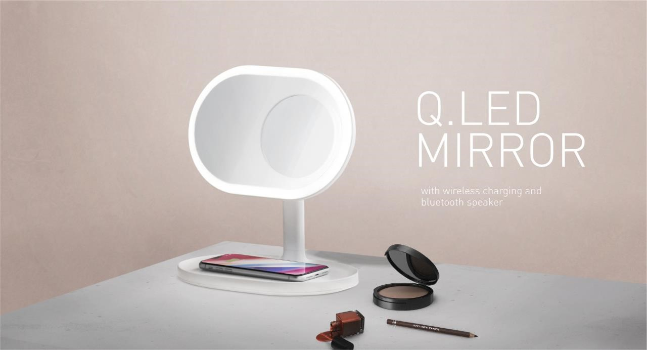 QLED Mirror with wireless charging and bluetooth speaker