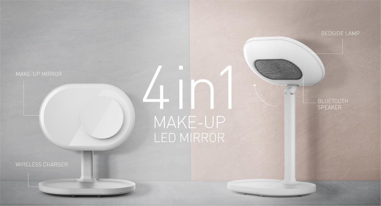 4 in1 Make up LED Mirror: Bedside lamp, Bluetooth speaker, Make up mirror and Wireless charger