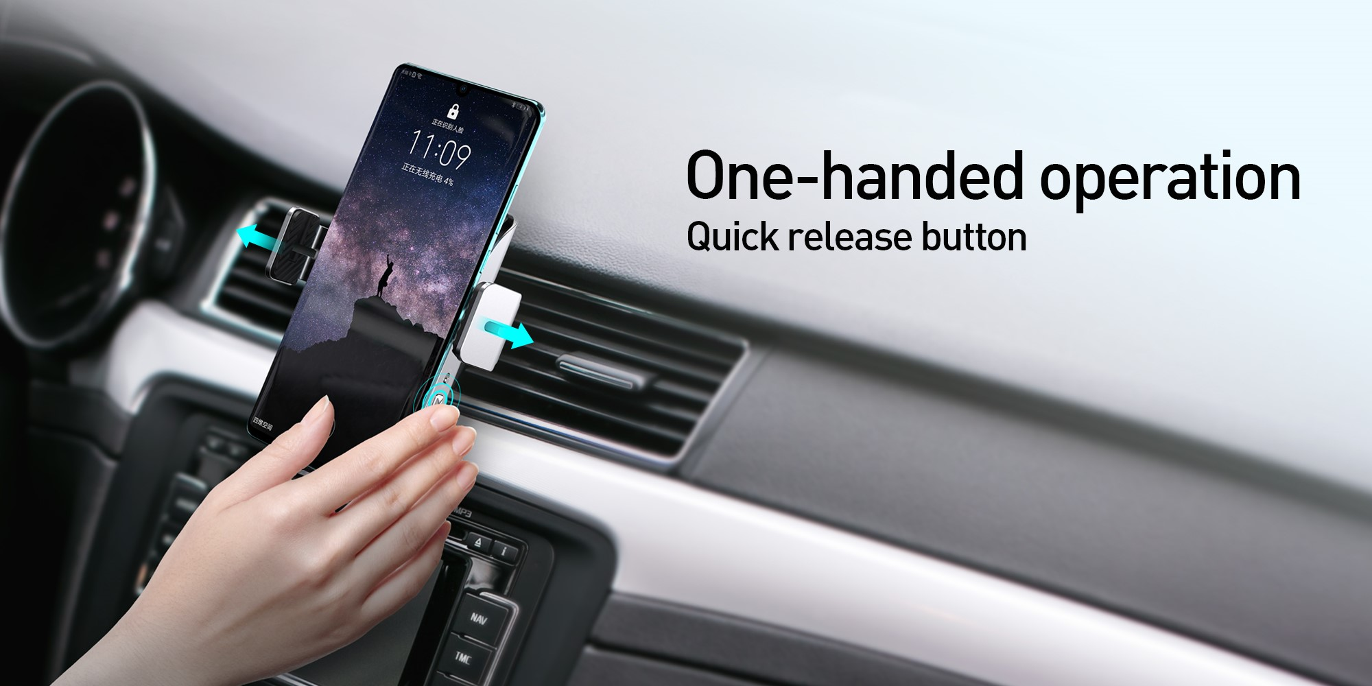 One-handed operation Quick release button Momax clamping wireless charging car mount
