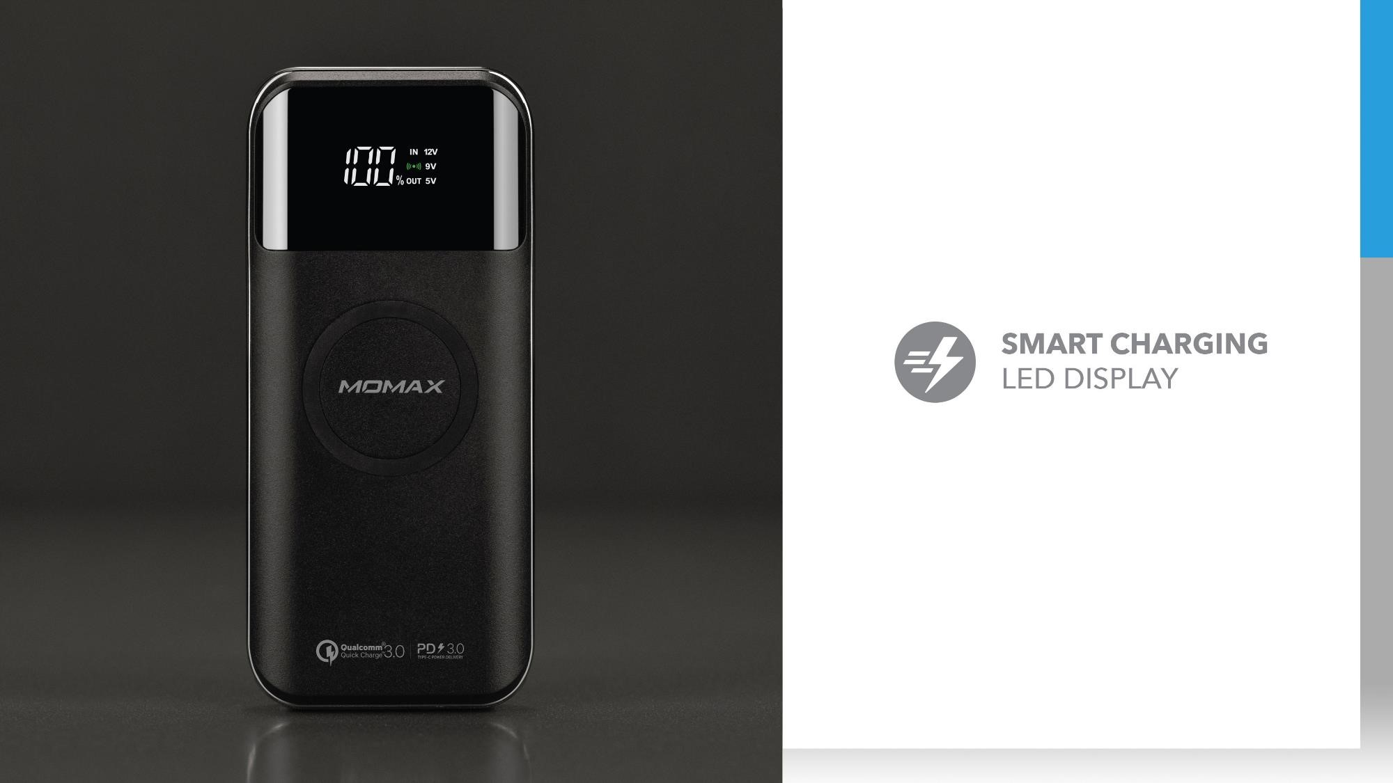 Q.Power Air 2+ Wireless External Battery Pack: Smart Charging LED Display