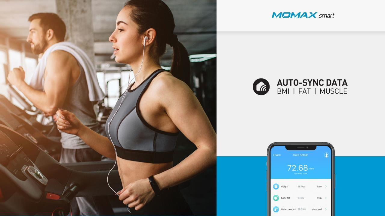 Momax HeaIth Tracker IoT Body Scale Auto Sync Data