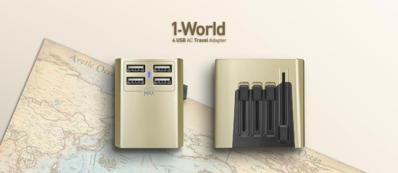 1-World 4 USB AC Travel Adapter
