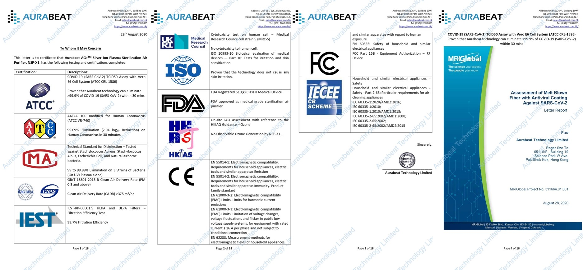AuraBeat documents on product realiability and effectivity