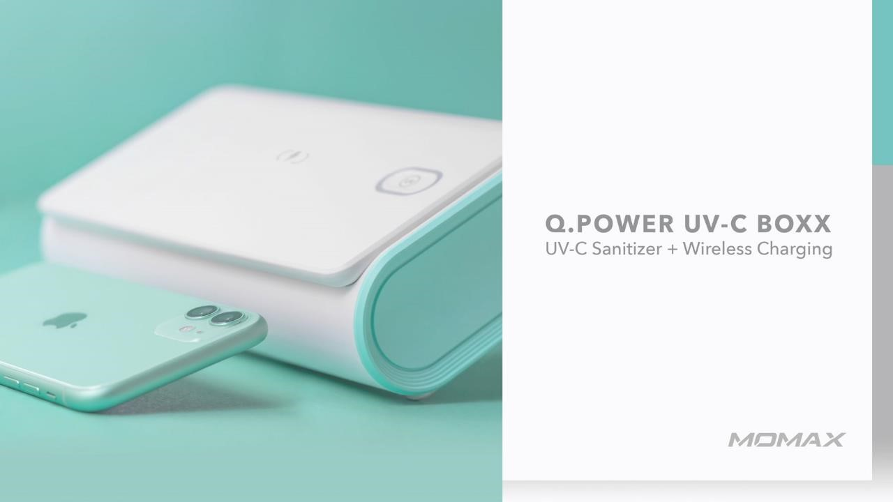 Q. Power UV-C Boxx UV-C sanitizer and wireless charger white, Momax product