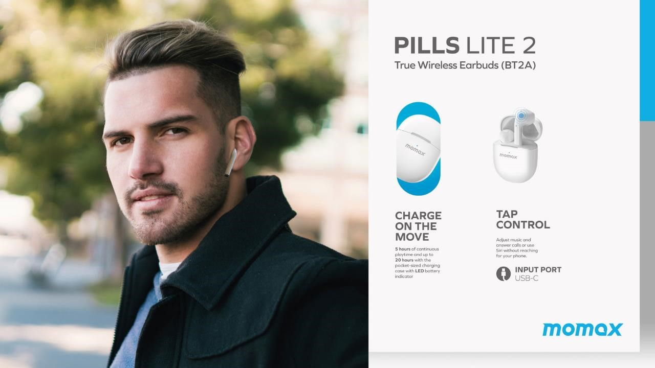 Momax Pills Lite 2 True Wireless Bluetooth Earbuds - Charge on the Move - Tap Control