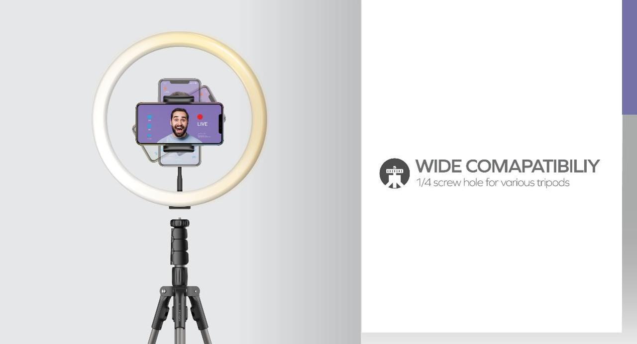 V. Log Livestream Ring Light 12 wide compatibility 1/4 screw hole for various tripods